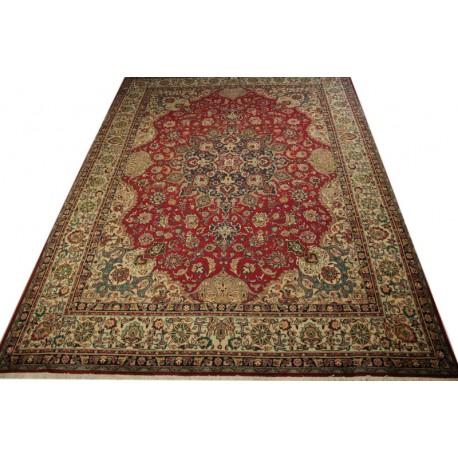 Dywan Perski Tabriz 300x400cm 100 Wełna Z Iranu Czerwony Klasyczny Kwiatowy Wzór Kwiatowy