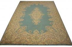 Bogaty klasyczny niebieski perski dywan Kerman (Kirman) ok 300x400cm 100% wełna