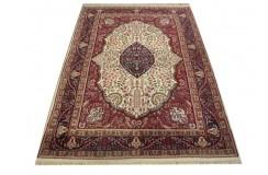 Beżowy klasyczny dywan Tabriz z Indii 200x300cm 100% wełna oryginalny ręcznie tkany perski gruby