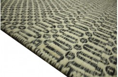 Piękny ręcznie wykonany płasko tkany kilim dywan wełniany z Indii 160x230cm biało-szary dwustronny