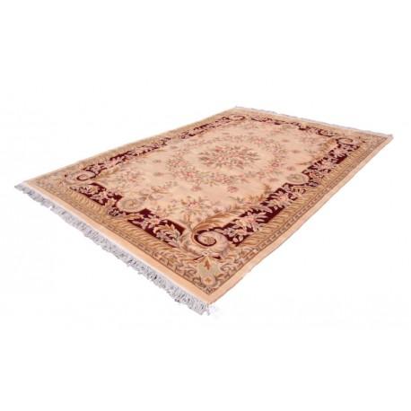 Piękny dywan Aubusson Habei ręcznie tkany z Chin 250x350cm 100% wełna przycinany rzeźbione kwiaty beżowy czerwony