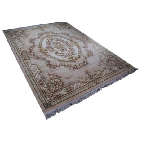 Piękny dywan Aubusson Habei ręcznie tkany z Chin 250x350cm 100% wełna przycinany rzeźbione kwiaty beżowy
