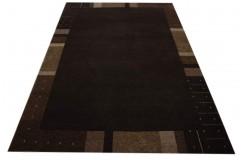 Gęsto tkany wełniany dywan Nepal Omega 200x300cm z jedwabiem brązowy nowoczesny