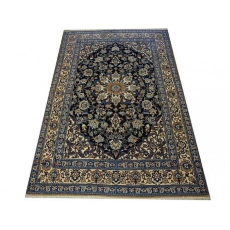 Nain 9lah gęsto ręcznie tkany dywan z Iranu wełna i jedwab 150x230cm granatowy majestatyczny przecena