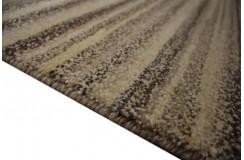 Ręcznie tkany wełniany dywan indyjski Nepal Shiva 170x240cm w pasy beżowy brązowy nowoczesny