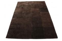 Ręcznie tkany wełniany dywan indyjski Nepal Tingri Luxor Living 170x240cm z jedwabiem patchwork brązowy