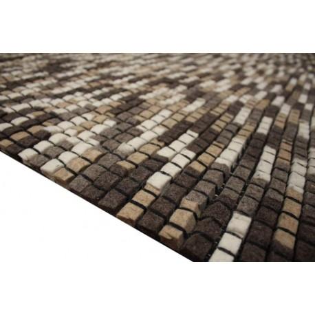 100% wełna filcowana nowoczesny ręcznie tkany dywan Brics 160x230 cegiełki brązowy