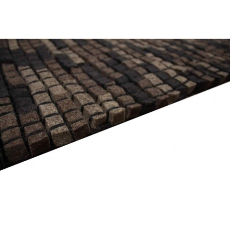 100% wełna filcowana nowoczesny ręcznie tkany dywan Brics 160x230 cegiełki brąz czarny