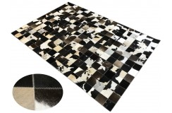 Naturalna skóra bydlęca dywan patchwork ok 170x240cm w kwadraty