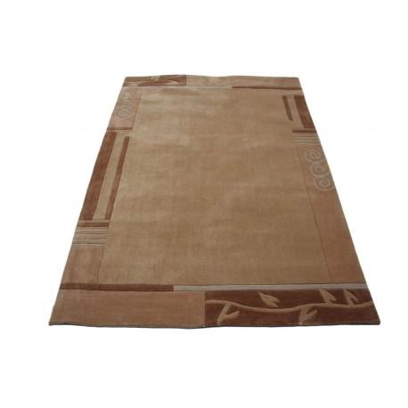 Nowoczesny zielony dywan Luxor Living Palma Sand 140x200cm poliester i akryl czerwony