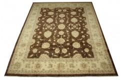 Brązowy dywan Ziegler 100% wełna kamienowana ręcznie tkany 250x300cm palmety kwiatowe