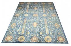 Dywan Ziegler Ariana Klassik niebieski 100% wełna kamienowana ręcznie tkany 277x362 ekskluzywny