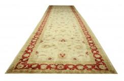 Gustowny dywan Ziegler beżowy 100% wełna kamienowana ręcznie tkany długi chodnik ok 100x600cm