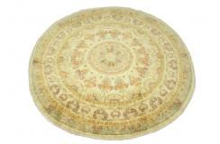 Okrągły dywan Ziegler Farahan beżowy 100% wełna kamienowana ręcznie tkany 180cm