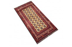 Dywan Afganistan Khuwaje Turkmeński geometryczny Tekke oryginalny 100% wełniany najwyższa jakość 51x101cm