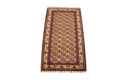 Dywan Afganistan Khuwaje Turkmeński geometryczny Tekke oryginalny 100% wełniany najwyższa jakość 51x96cm