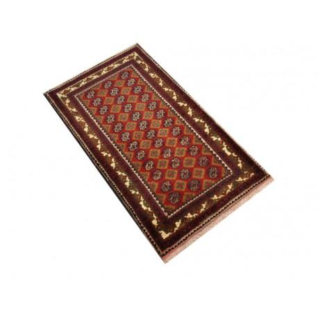Dywan Afganistan Khuwaje Turkmeński geometryczny Tekke oryginalny 100% wełniany najwyższa jakość 54x96cm