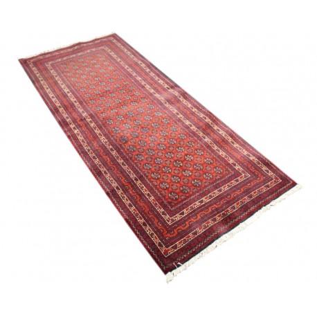 Dywan Afganistan Khuwaje Turkmeński geometryczny Tekke oryginalny 100% wełniany najwyższa jakość 79x196cm