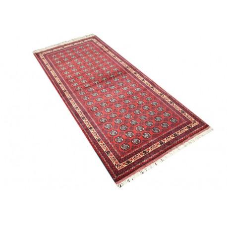 Dywan Afganistan Khuwaje Turkmeński geometryczny Tekke oryginalny 100% wełniany najwyższa jakość 70x260cm chodnik