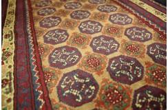 Dywan Afganistan Khuwaje Turkmeński geometryczny Tekke oryginalny 100% wełniany najwyższa jakość 46x143cm chodnik