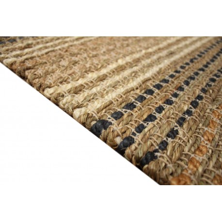 Naturalny dywan wełna czesankowa w warkocze i wodorosty (Seagrass) 160x230cm Indie ręcznie wiązany brązowy