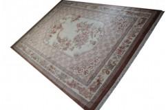 Piękny dywan Aubusson Habei ręcznie tkany z Chin 300x400cm 100% wełna przycinany rzeźbione kwiaty beżowy brązowy