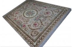 Piękny dywan Aubusson Habei ręcznie tkany z Chin 300x400cm 100% wełna przycinany rzeźbione kwiaty beżowy