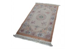 Piękny dywan Aubusson chiński ręcznie tkany 90x160cm 100% wełna rzeźbiony w kwiaty