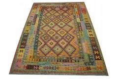 Kaudani wzorzysty dywan kilim z Afganistanu 100% wełna VINTAGE 197x296cm pastelowe kolory