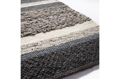 Luksusowy dywan Brinker Carpets Step Design A szary brąz 170x230cm 100% wełna owcza