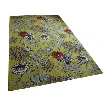 Żółty dywan z kolorowymi kwiatami 100% wełniany 155x215 tani Indie