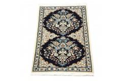 Nain 6la Habibian gęsto ręcznie tkany dywan z Iranu wełna + jedwab ok 50x75cm granatowy majestatyczny