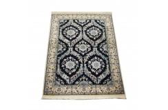 Nain 6la Habibian gęsto ręcznie tkany dywan z Iranu wełna + jedwab ok 96x145cm granatowy majestatyczny