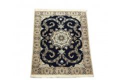 Nain 6la Habibian gęsto ręcznie tkany dywan z Iranu wełna + jedwab ok 83x114cm granatowy majestatyczny