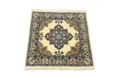 Nain 6la Habibian gęsto ręcznie tkany dywan z Iranu wełna + jedwab ok 100x100cm granatowy majestatyczny