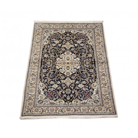 Nain 6la Habibian gęsto ręcznie tkany dywan z Iranu wełna + jedwab ok 100x150cm granatowy majestatyczny
