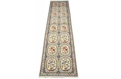 Nain 6la Habibian gęsto ręcznie tkany dywan z Iranu wełna + jedwab ok 100x400cm granatowy majestatyczny