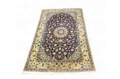 Nain 6la Habibian gęsto ręcznie tkany dywan z Iranu wełna + jedwab ok 155x261cm granatowy majestatyczny