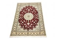 Nain 6la Habibian gęsto ręcznie tkany dywan z Iranu wełna + jedwab ok125x192cm czerwony majestatyczny