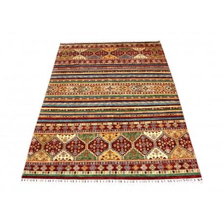 Dywan Ziegler Arijana Shaal 100% wełna kamienowana ręcznie tkany luksusowy 200x280cm kolorowy w pasy