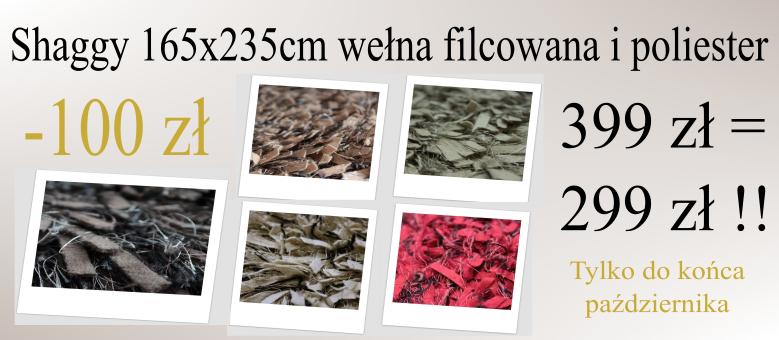Dywan shaggy wełna i poliester 155x245cm -100zł